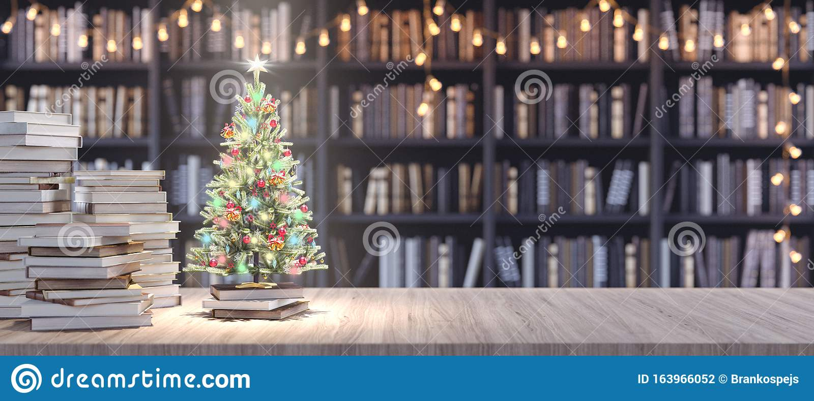 Decorated Christmas Tree On Bookshelf In The Library With Old Books Holidays In Bookstore Concept 3d Render Stock Illustration Illustration Of Celebration Indoor 163966052