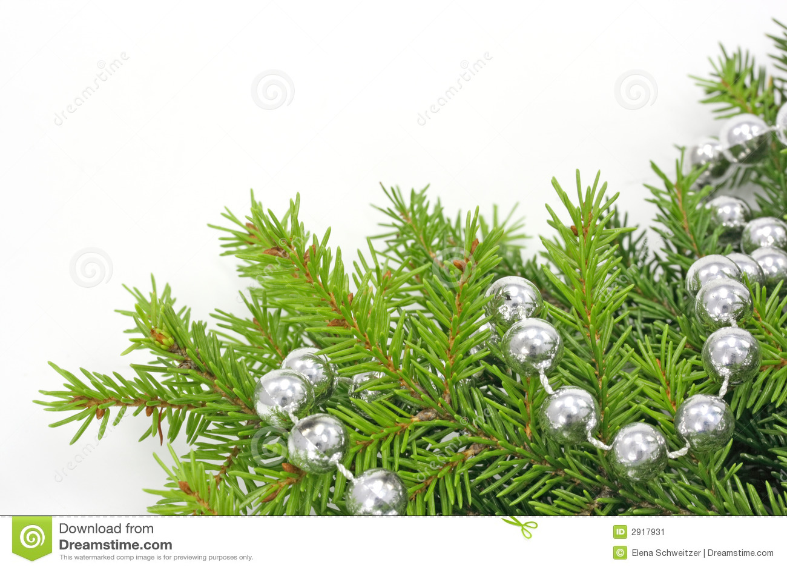Decorated Christmas Tree Bough Stock Image - Image: 2917931