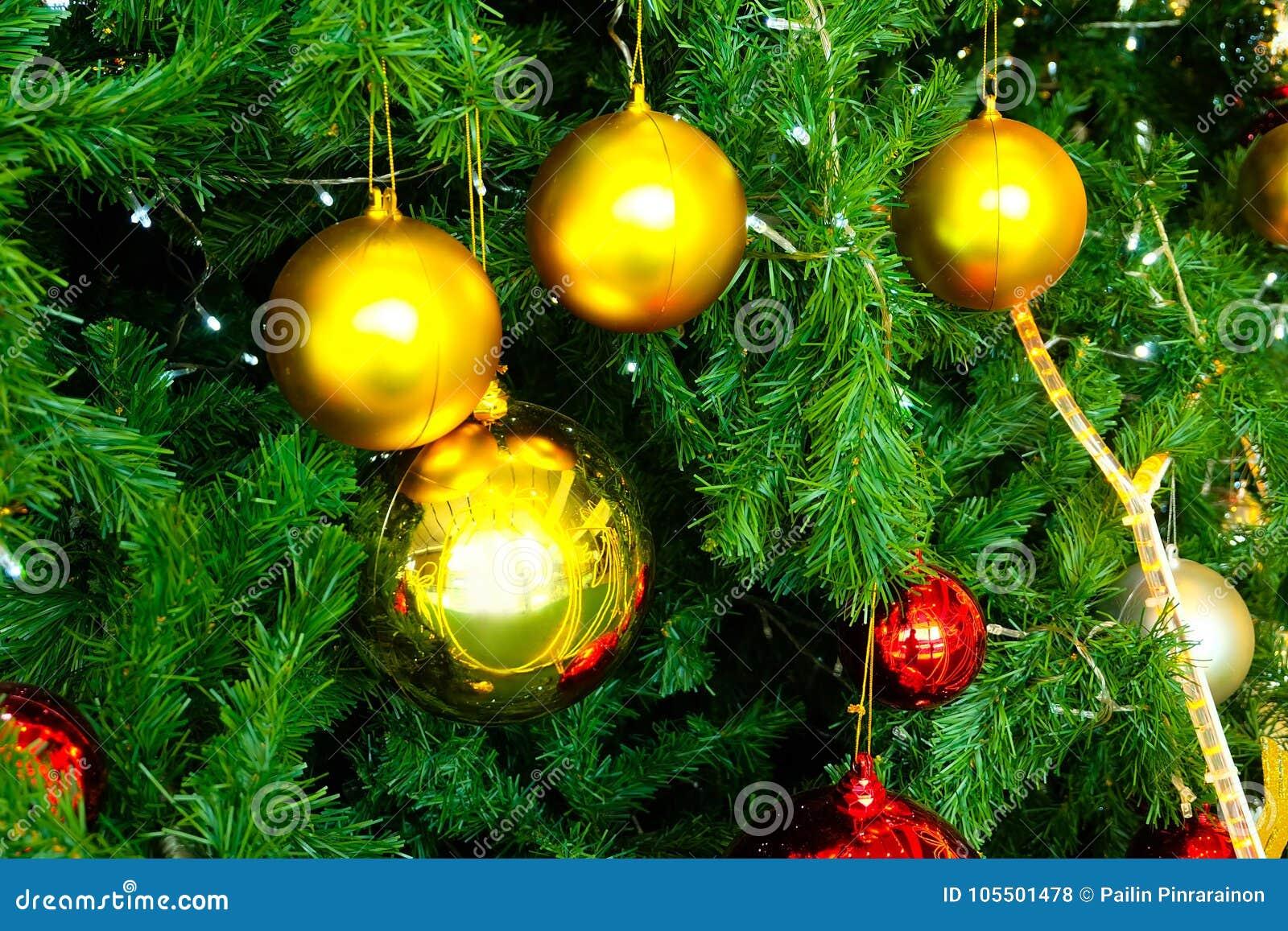Decorated Christmas Fir Tree Closeup Background