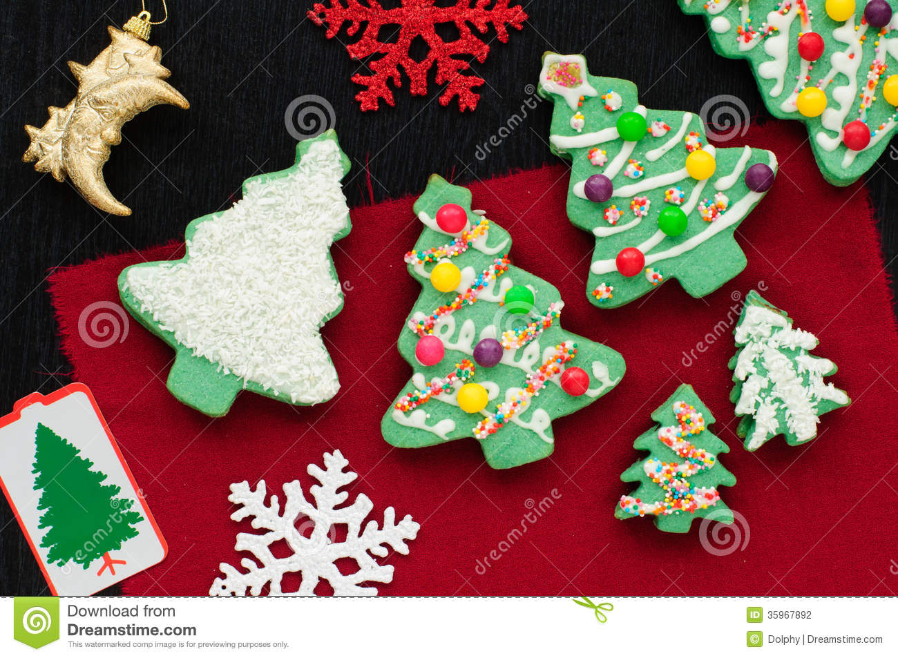 Decorated Christmas Tree Cookies Stock Photography - Image: 35967892