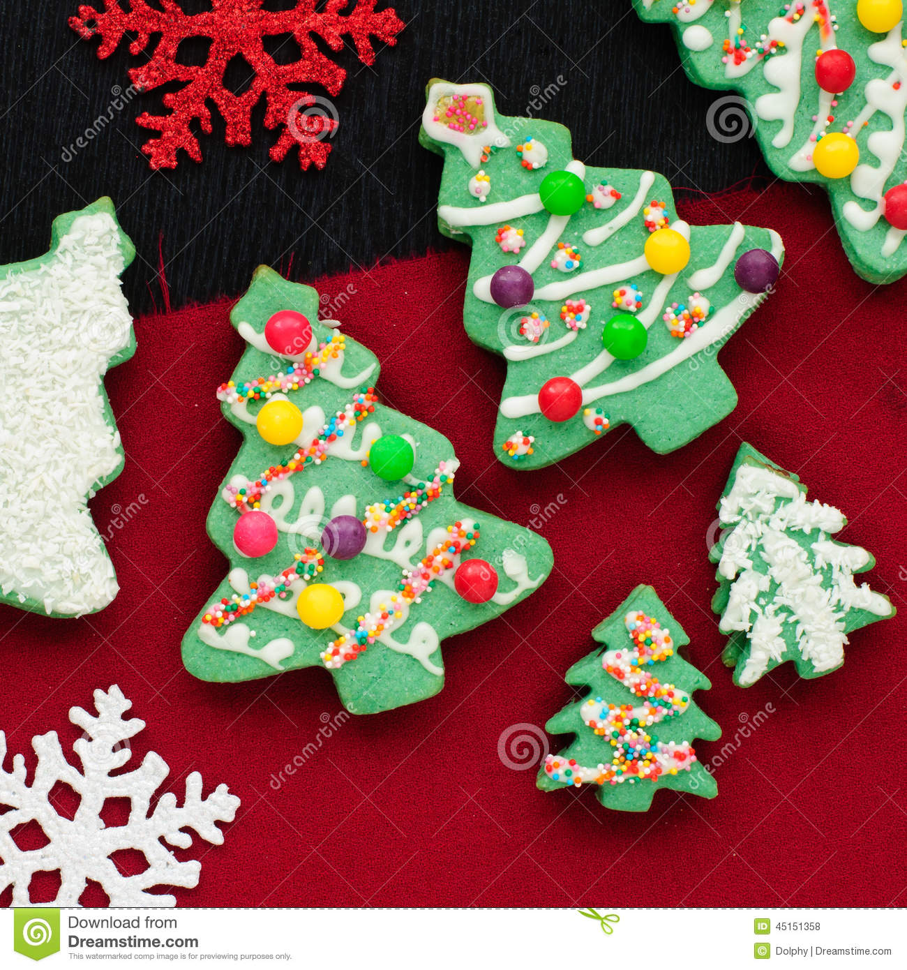 Decorated christmas tree cookies stock photo image