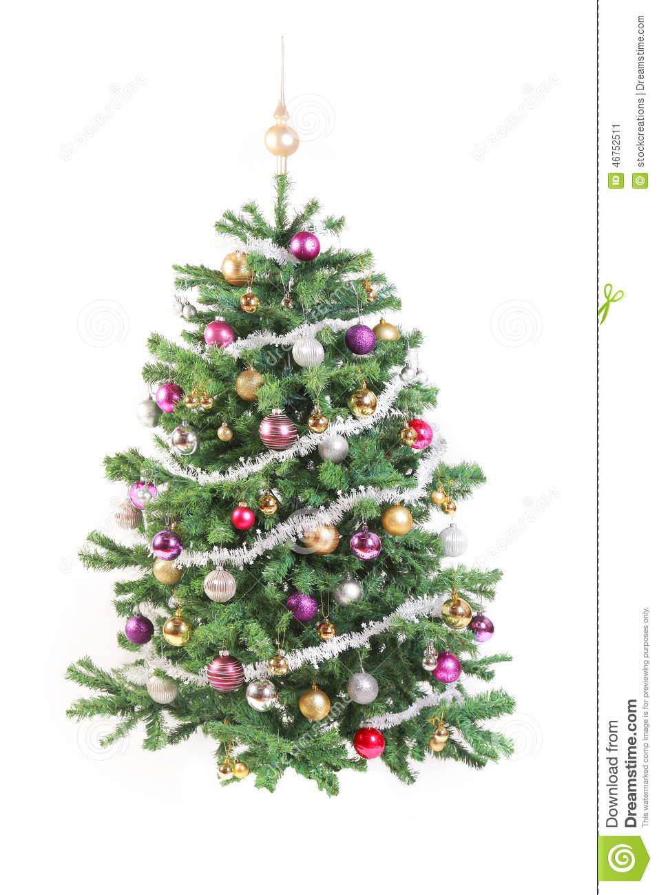 Decorate Christmas Tree Garland : Decorated christmas tree with garland stock photo image