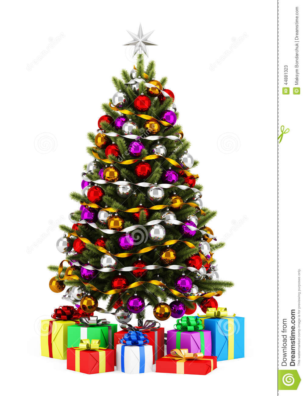 Decorated christmas tree with gift boxes isolated on white