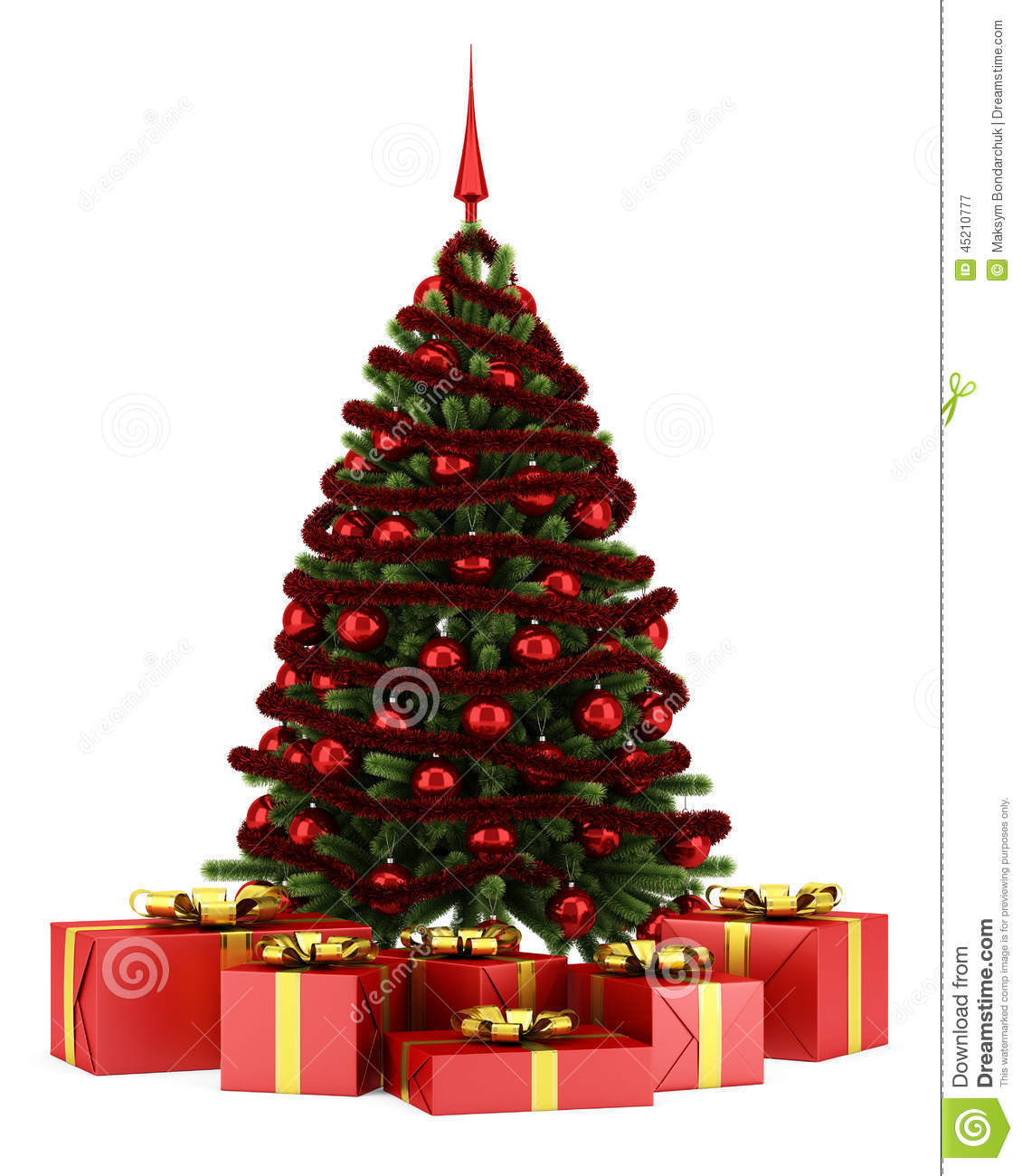 Decorated Christmas Tree With Gift Boxes Isolated On White ...