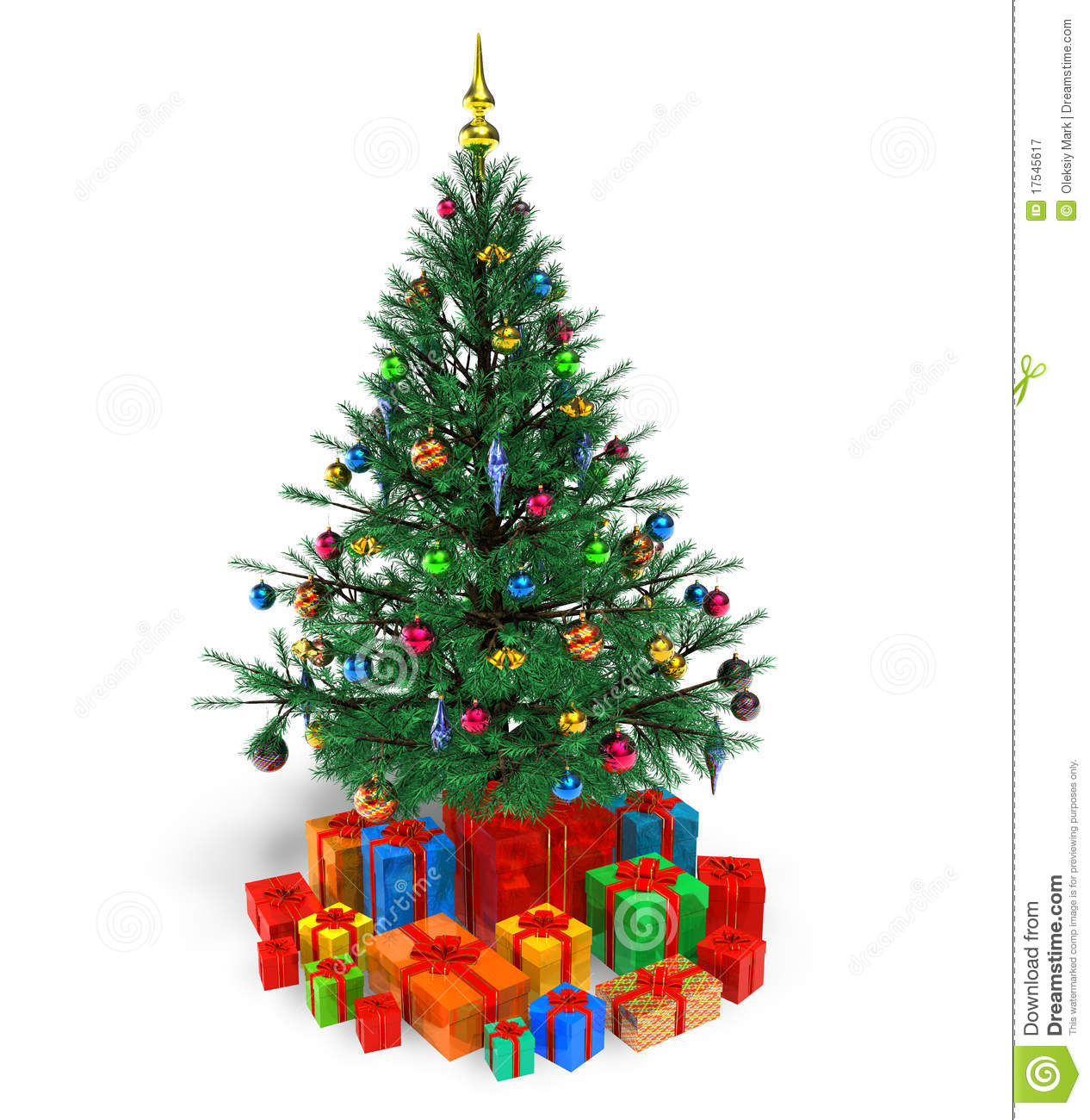 Decorated Christmas Tree Images : Decorated christmas tree with gifts stock illustration