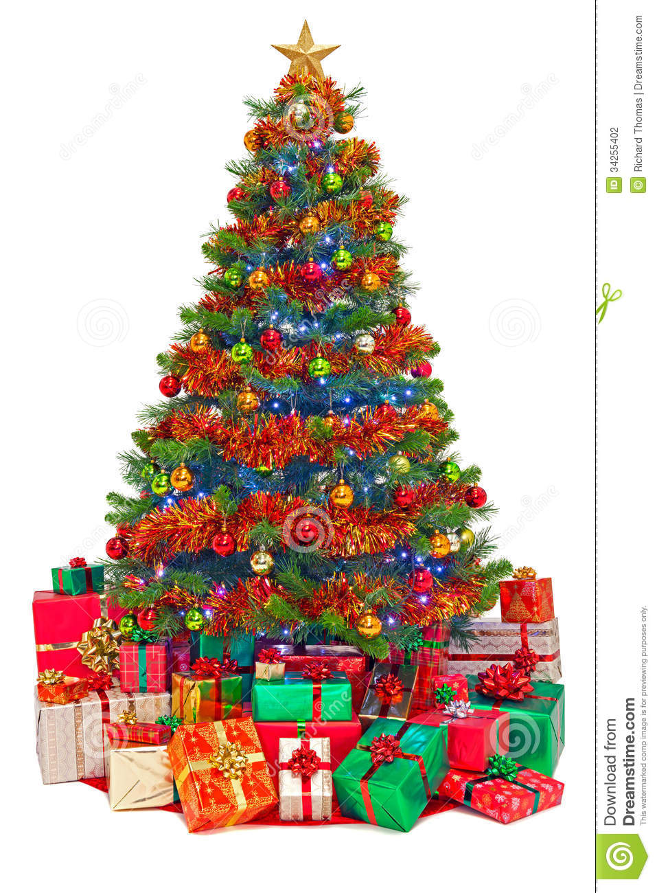 Decorated christmas tree with gifts isolated stock photo
