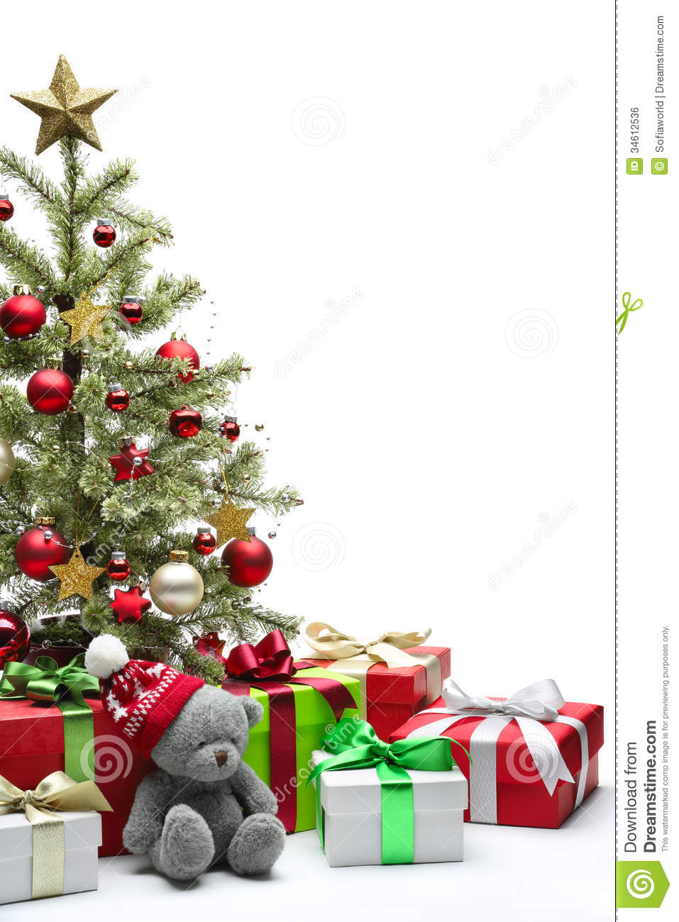 Decorated Christmas Tree And Gifts Stock Photo - Image of ...