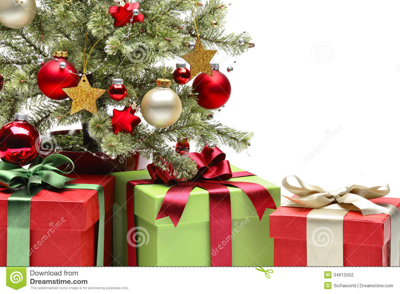 Decorated Christmas Tree And Gifts Stock Photography - Image: 34612552