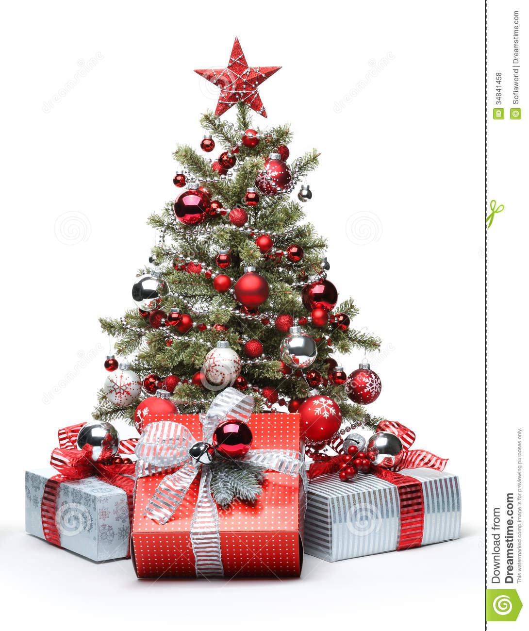Decorated christmas tree and gifts royalty free stock