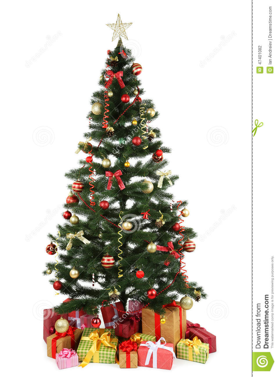Decorated christmas tree with gifts on white royalty free