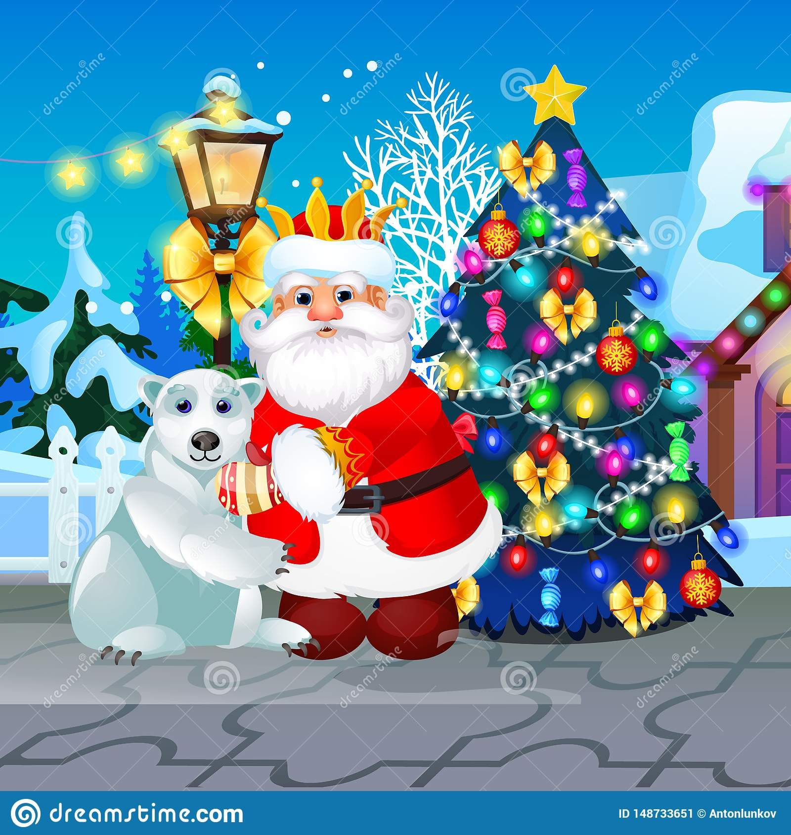 Christmas Celebration Cartoon Images.Decorated Christmas Tree Lamppost Animated Santa Claus And