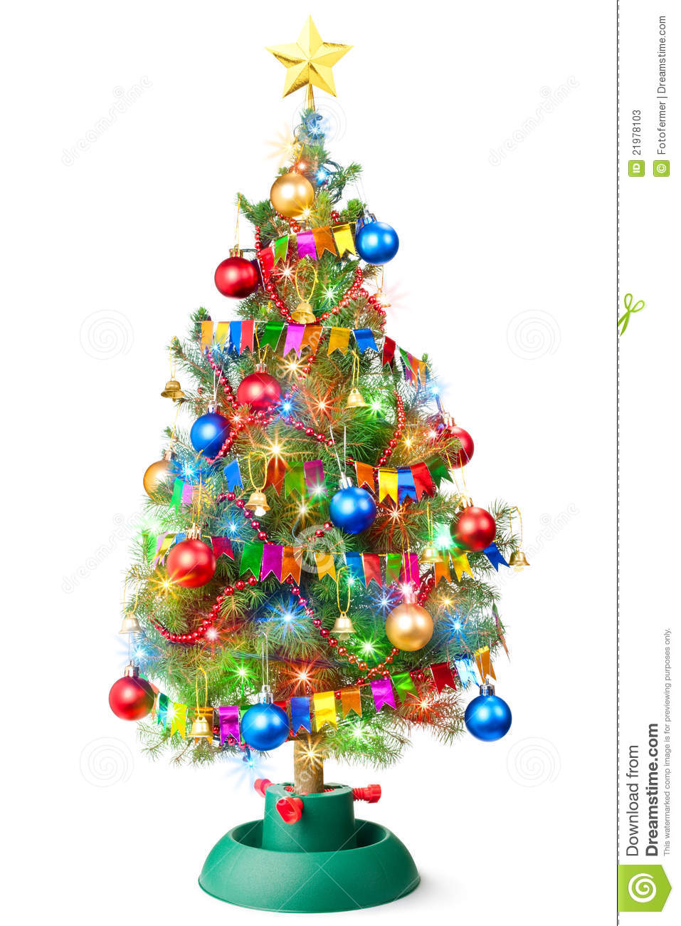 Decorate Christmas Tree Garland : Decorated christmas tree with luminous garland stock