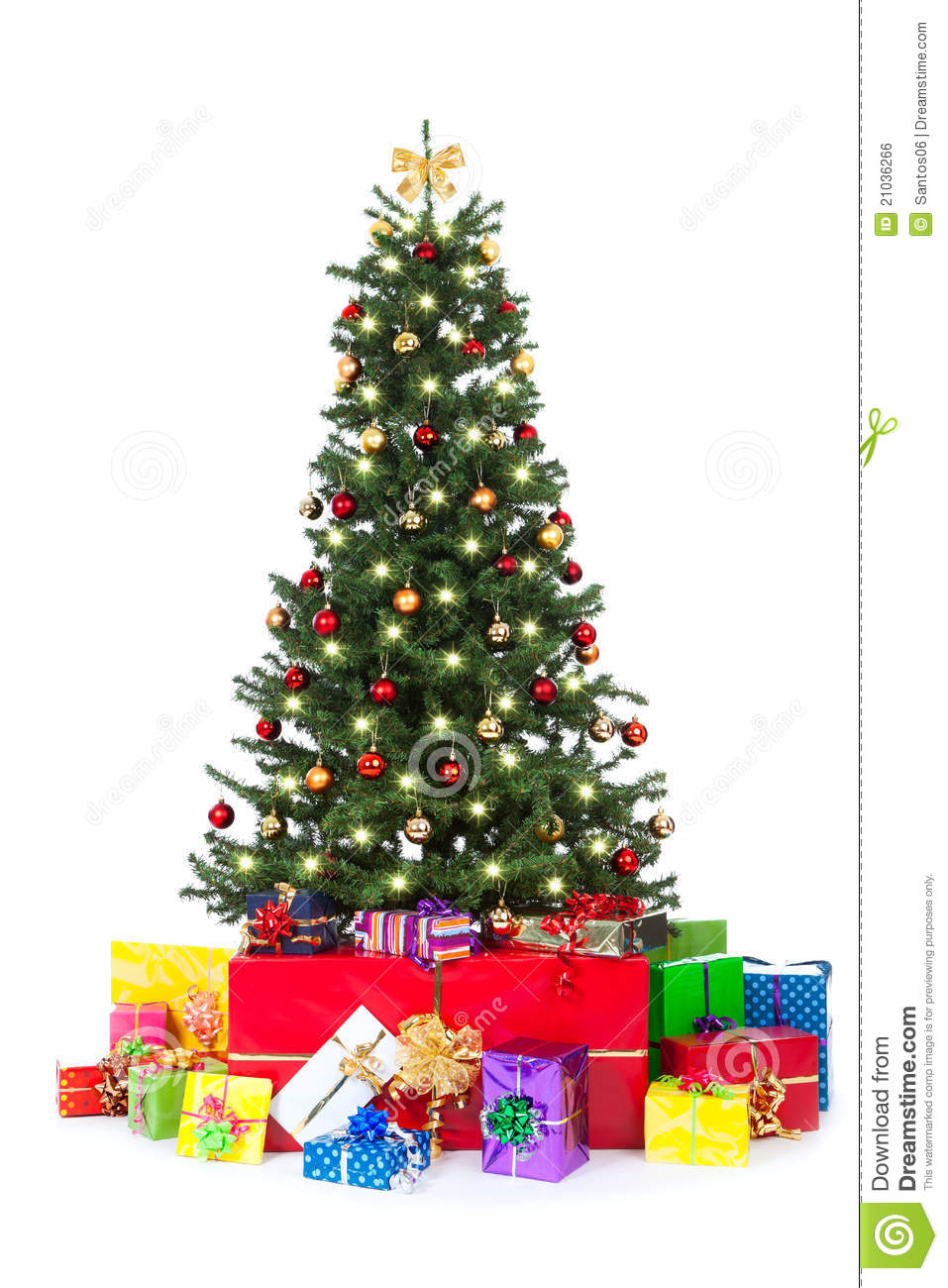 Decorated Christmas Tree With Many Colorful Gifts Royalty Free ...