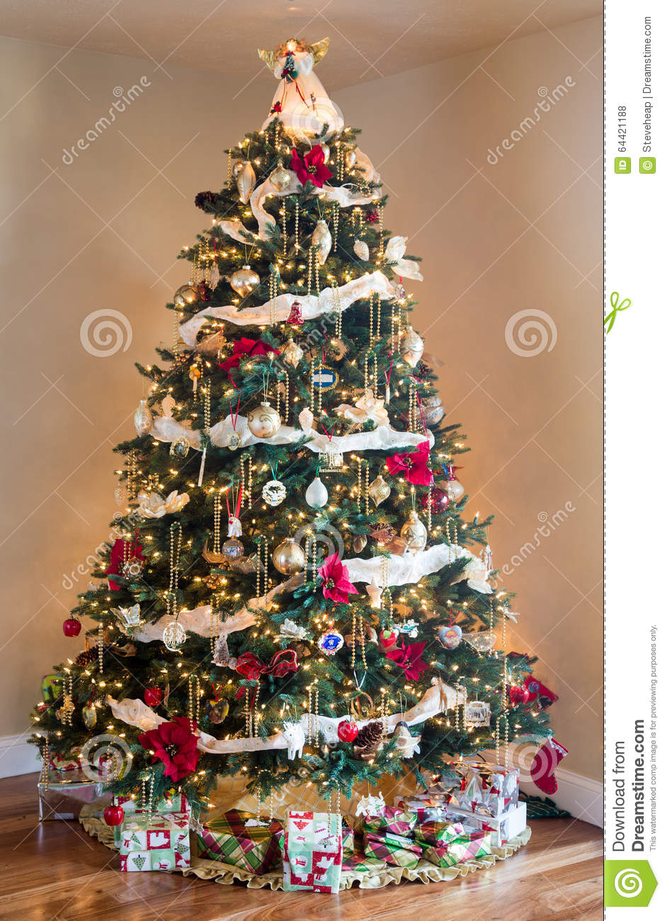 Decorated Christmas Tree In Modern Living Room Stock Photo