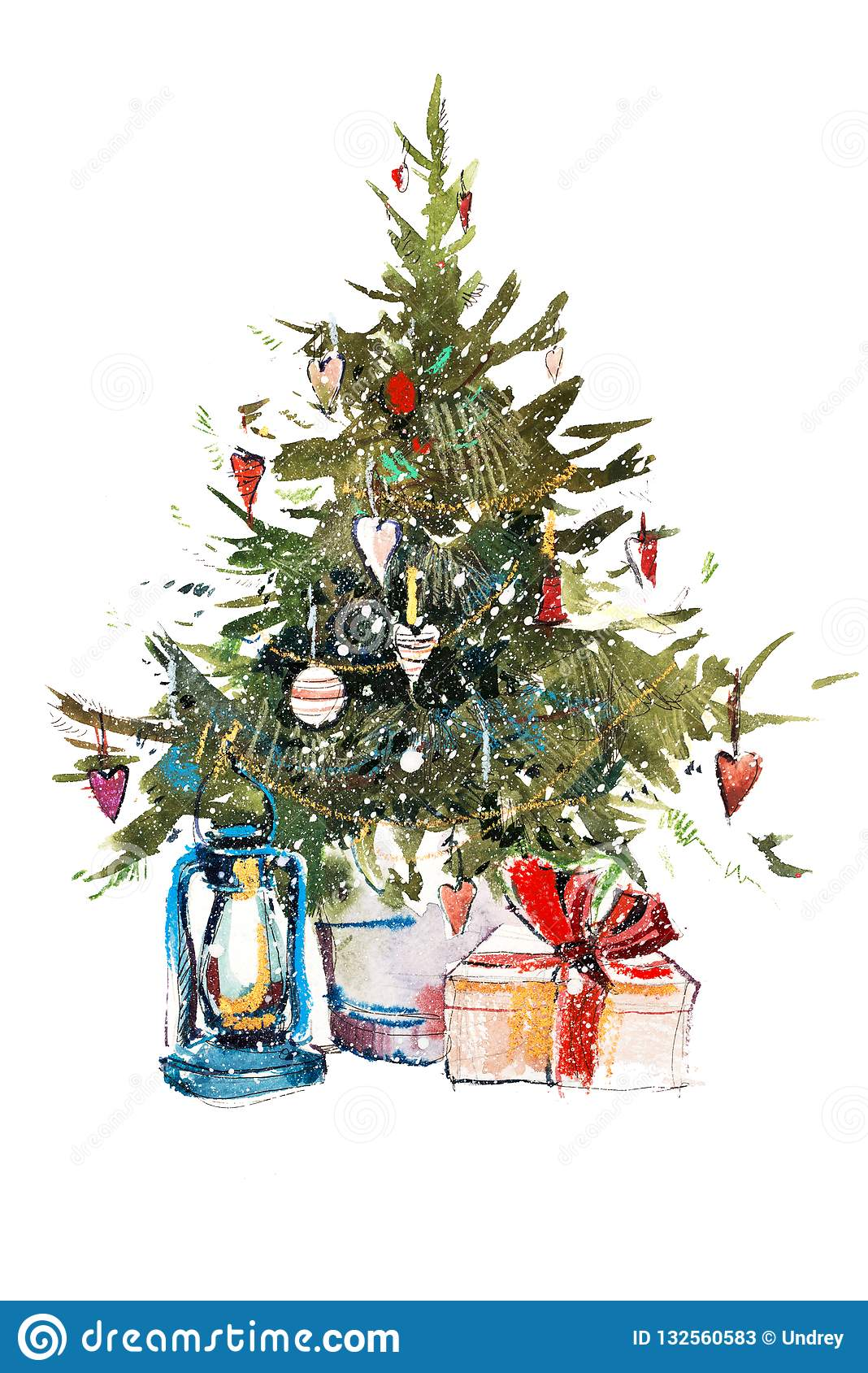 Color Christmas Pictures To Draw.Decorated Christmas Tree New Year Watercolor Illustration