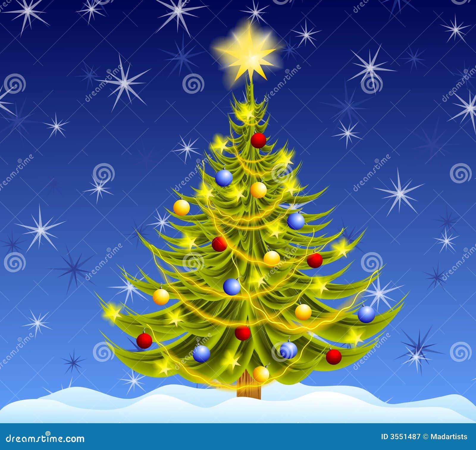 Decorated Christmas Tree Night Stock Illustration ...