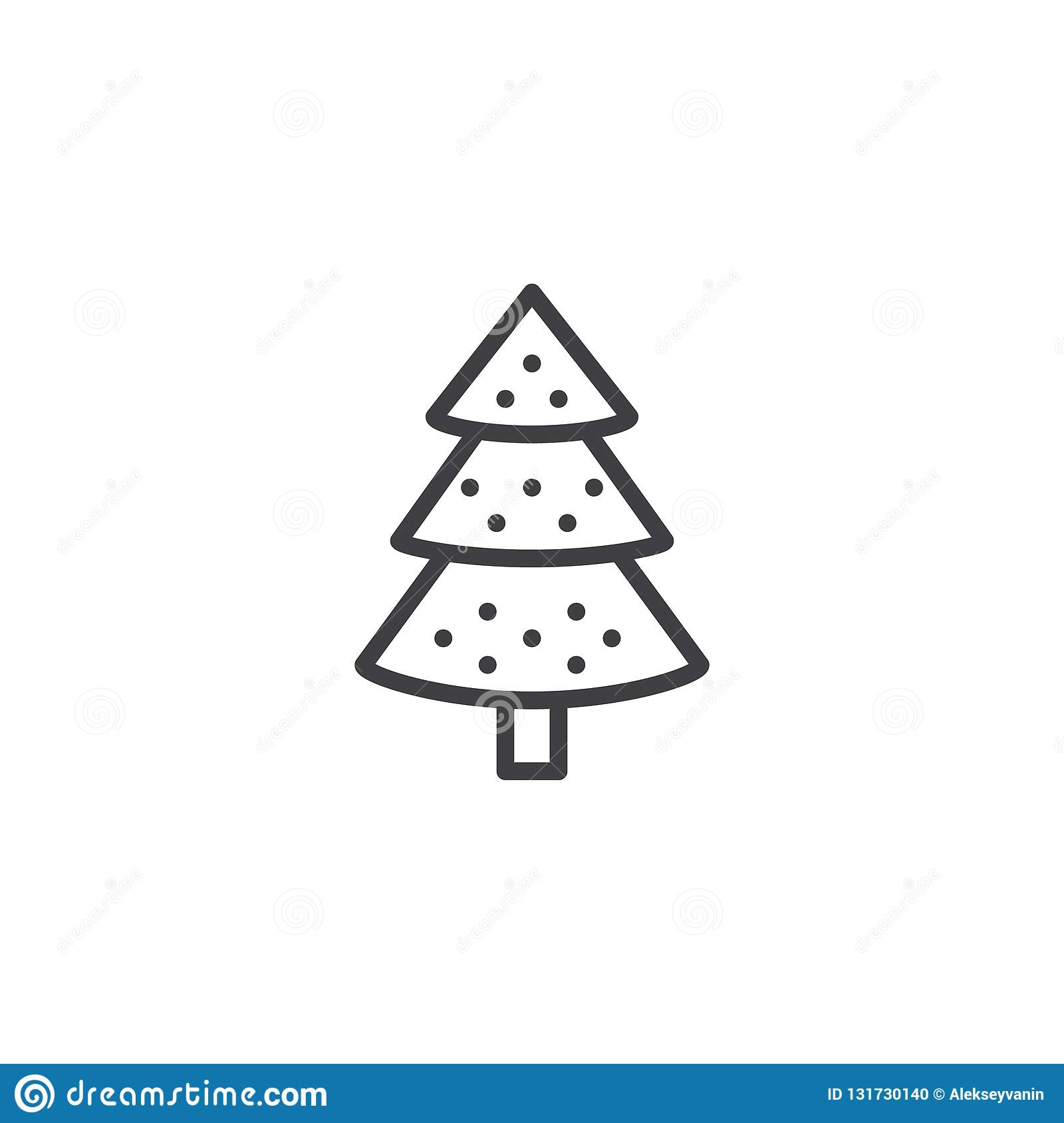 Decorated Christmas Tree Outline Icon Stock Vector Illustration Of