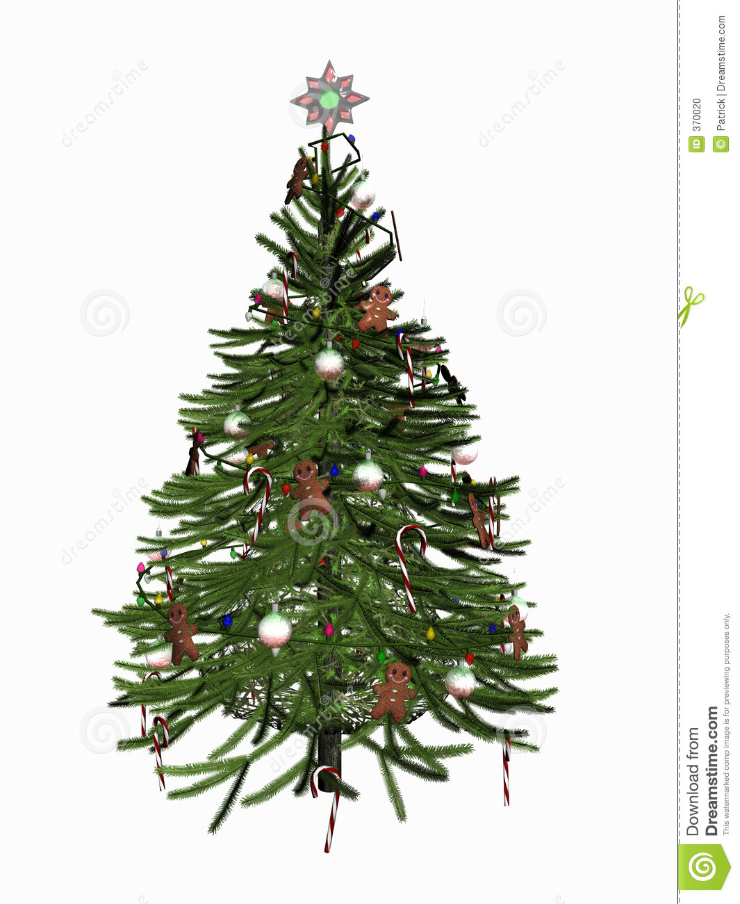 Decorated christmas tree over white on reflective surface 3d