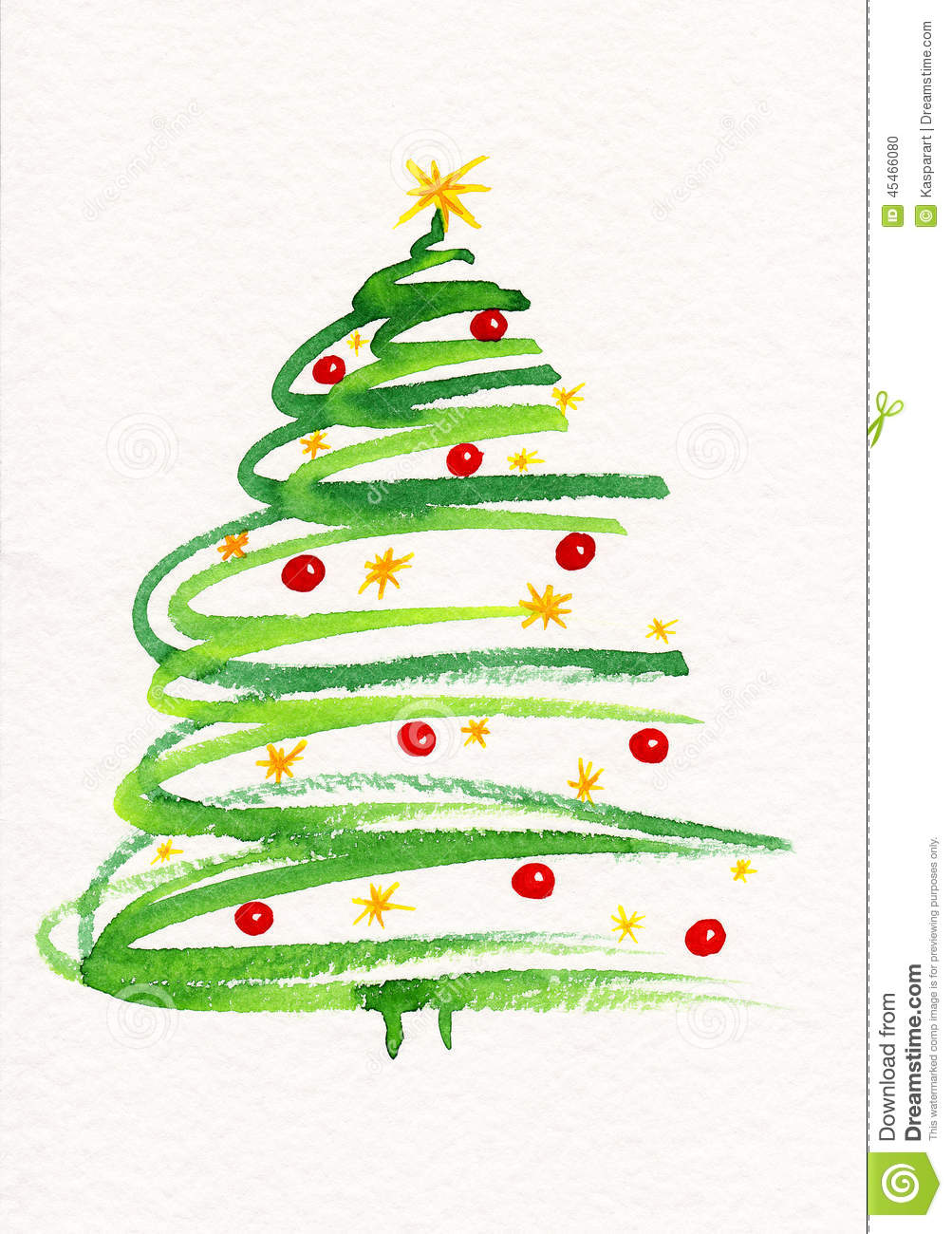 Decorated christmas tree painting stock illustration for Painted christmas cards