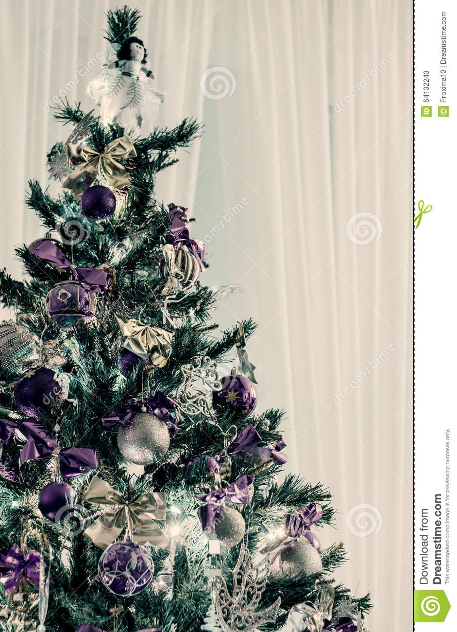 Decorated Christmas Tree With Purple And Gold Ribbons And Balloons Stock Image Image Of Festive Golden 64132243
