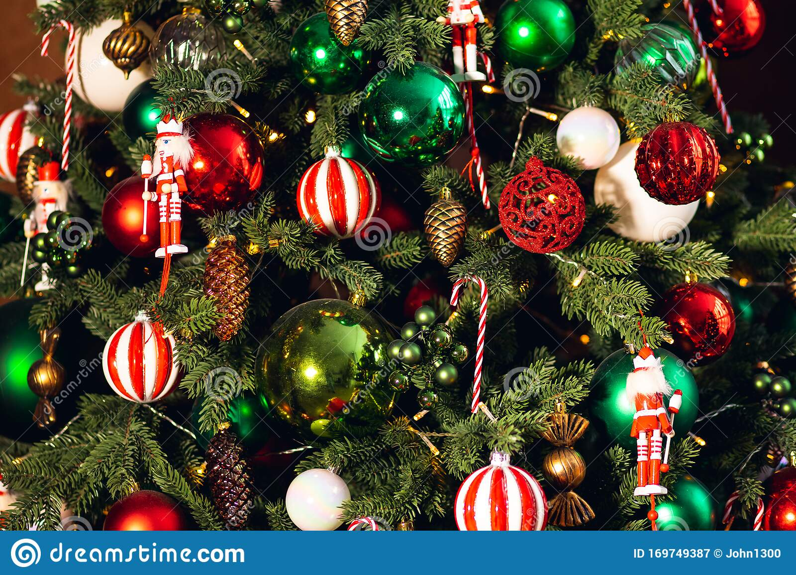 Decorated Christmas Tree Red And Green Color Close Up Of Toys And Decor Striped Candy Stock Image Image Of Decorate Macro 169749387