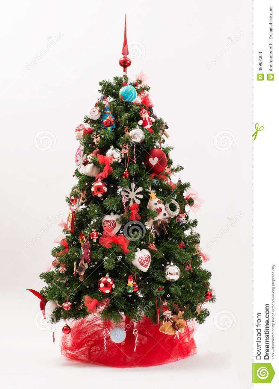 Decorated christmas tree in a red and white theme stock for White tree red ornaments