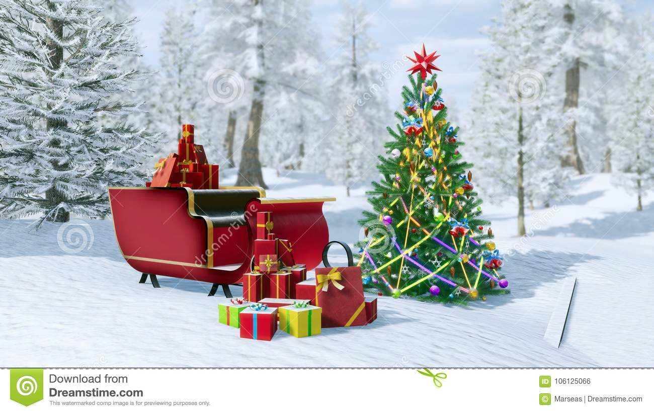 Decorated Christmas Tree And Santa Sleigh Stock Illustration