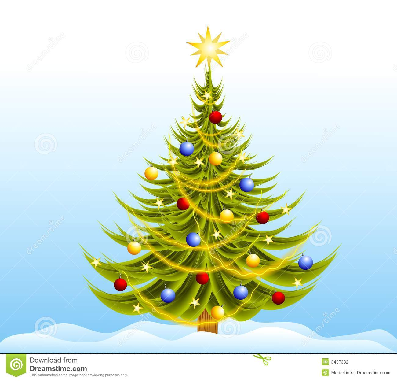 Decorated Christmas Tree Snow Stock Illustration - Image ...