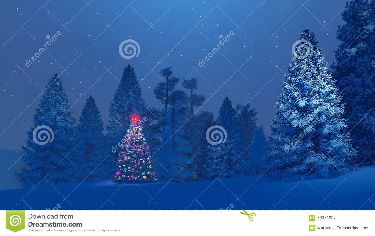 Christmas Tree Scenery Part - 22: Royalty-Free Illustration