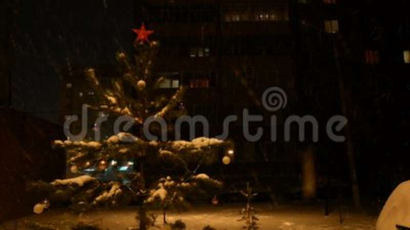 decorated christmas tree stands on the street at night in a snowfall a red star on the top of the head stock video video of branch