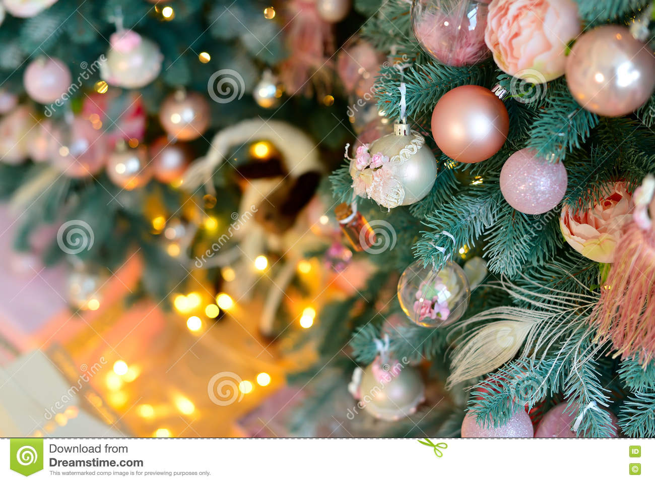 Decorated Christmas Tree With Vintage Pink Balls And Light Stock Image Image Of Celebration Card 80145039