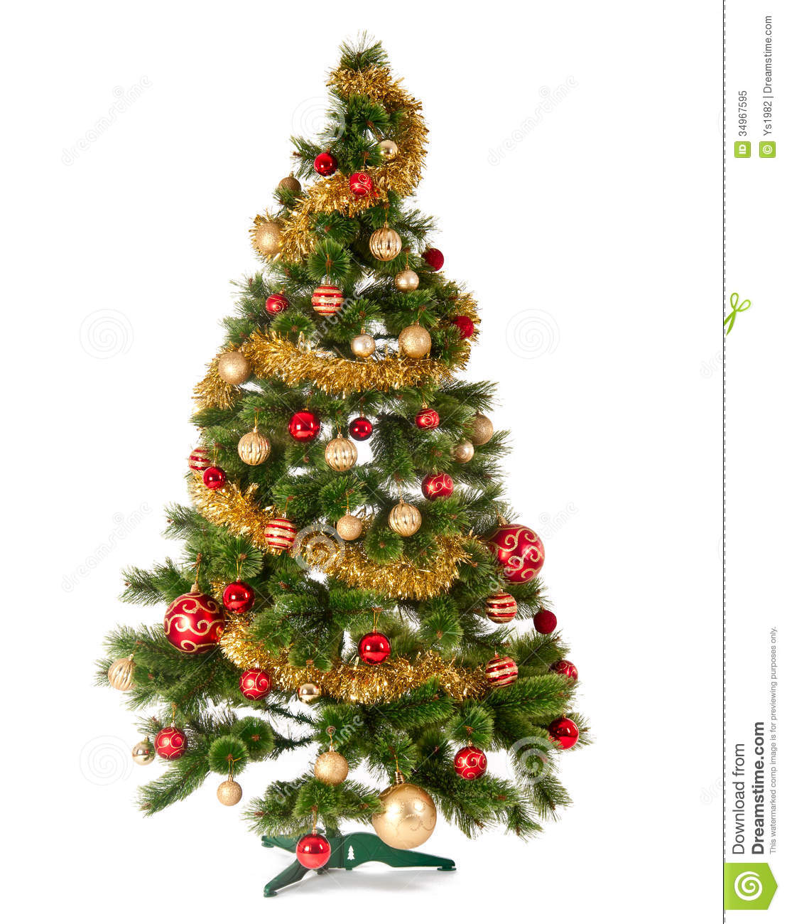 Decorated Christmas Tree Images : Decorated christmas tree on white background stock image