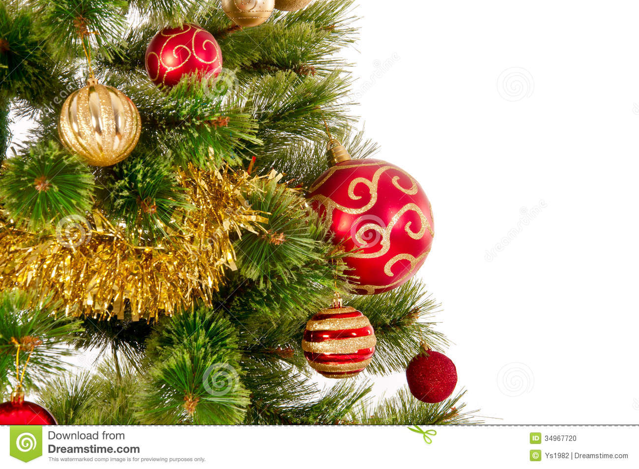 Decorated Christmas Tree Images : Decorated christmas tree on white background stock photo