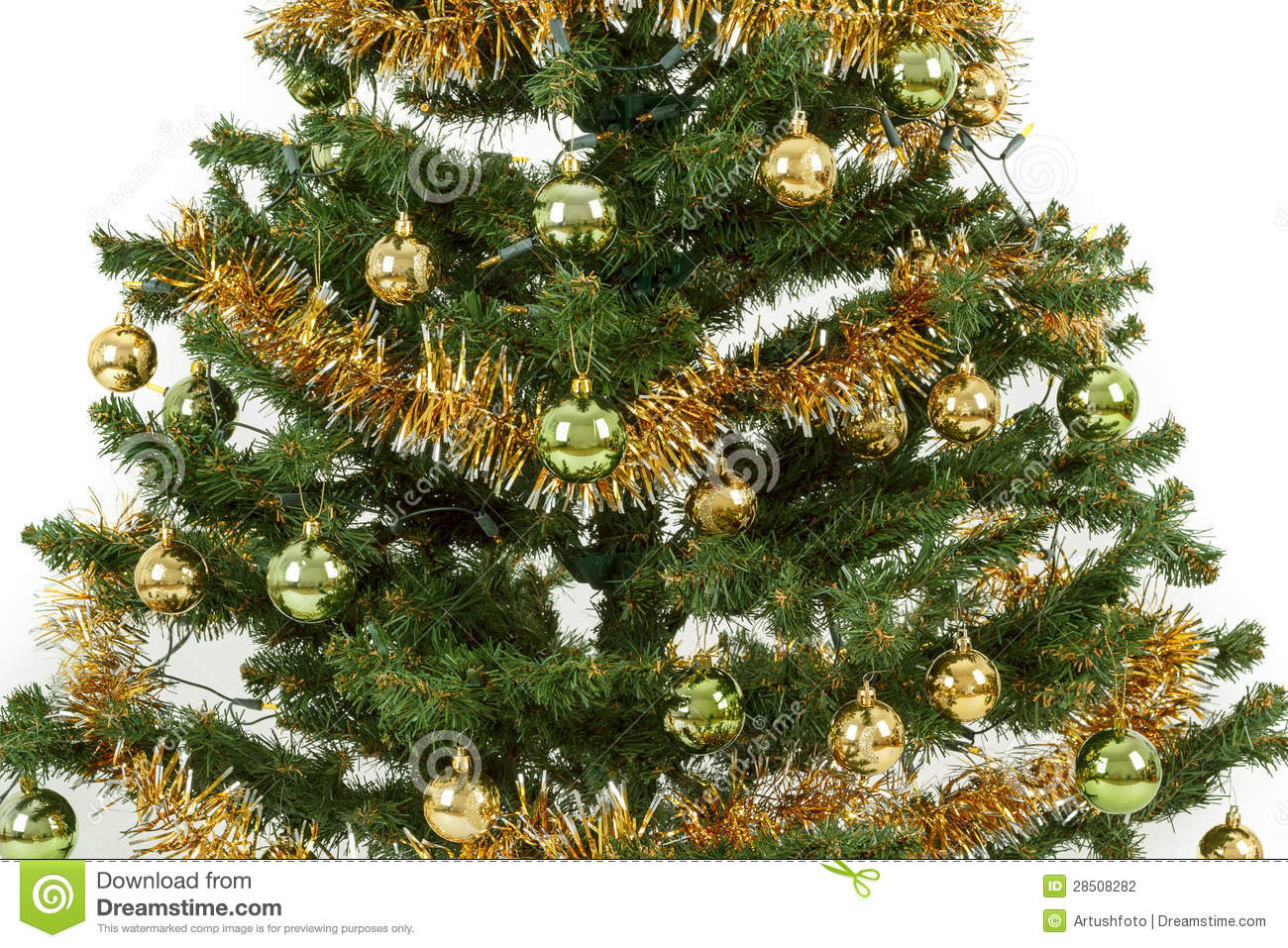 Decorated christmas tree with yellow and green balls stock for Green and white decorated christmas trees