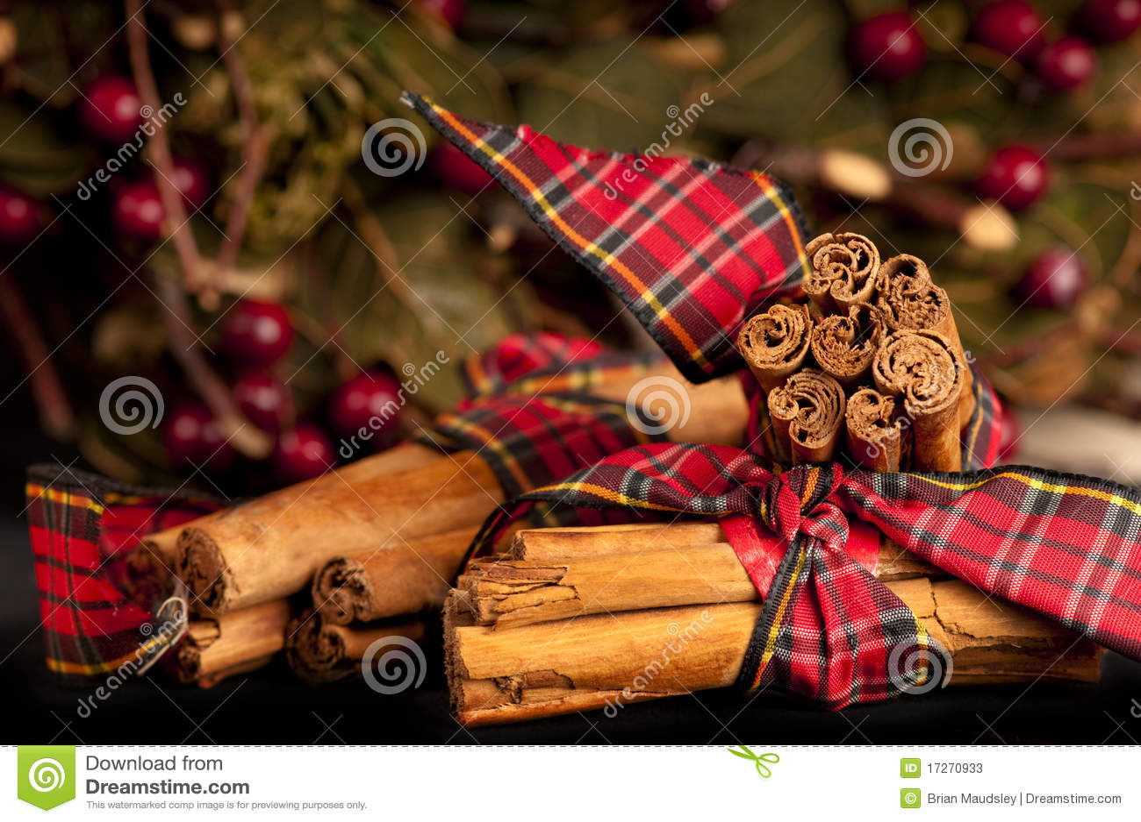 Decorated Cinnamon sticks for Christmas.