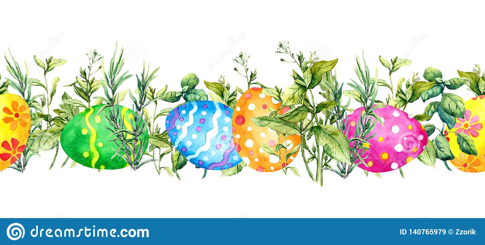 Decorated Colored Easter Eggs Hidden In Spring Green Grass