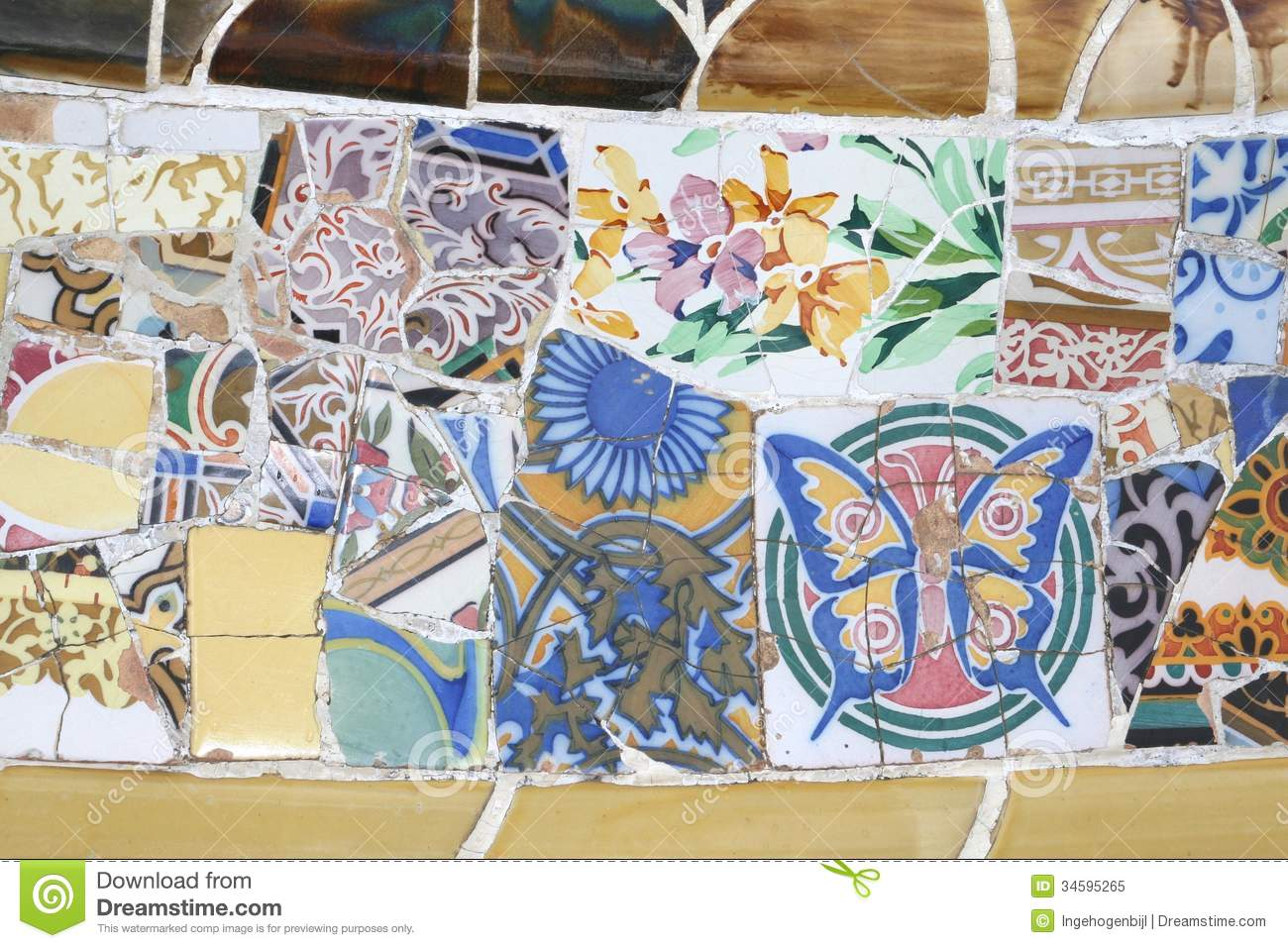 Decorations In Spain Gaudi Decorations In Parc Guellbarcelonaspain Royalty Free Stock