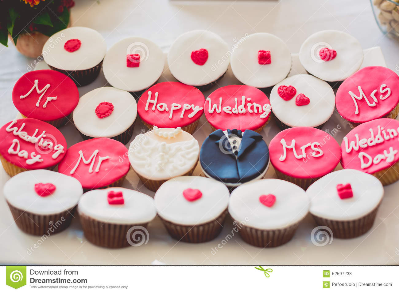 Decorated Cupcakes For Wedding Stock Photo - Image of colors ...