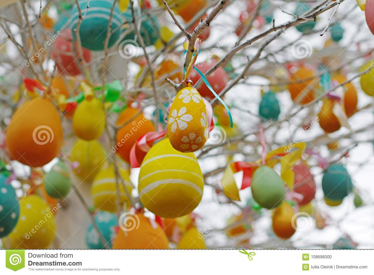 Decorated Easter Eggs Hanging On Tree Branches Stock Photo Image Of Card Annual 108698300