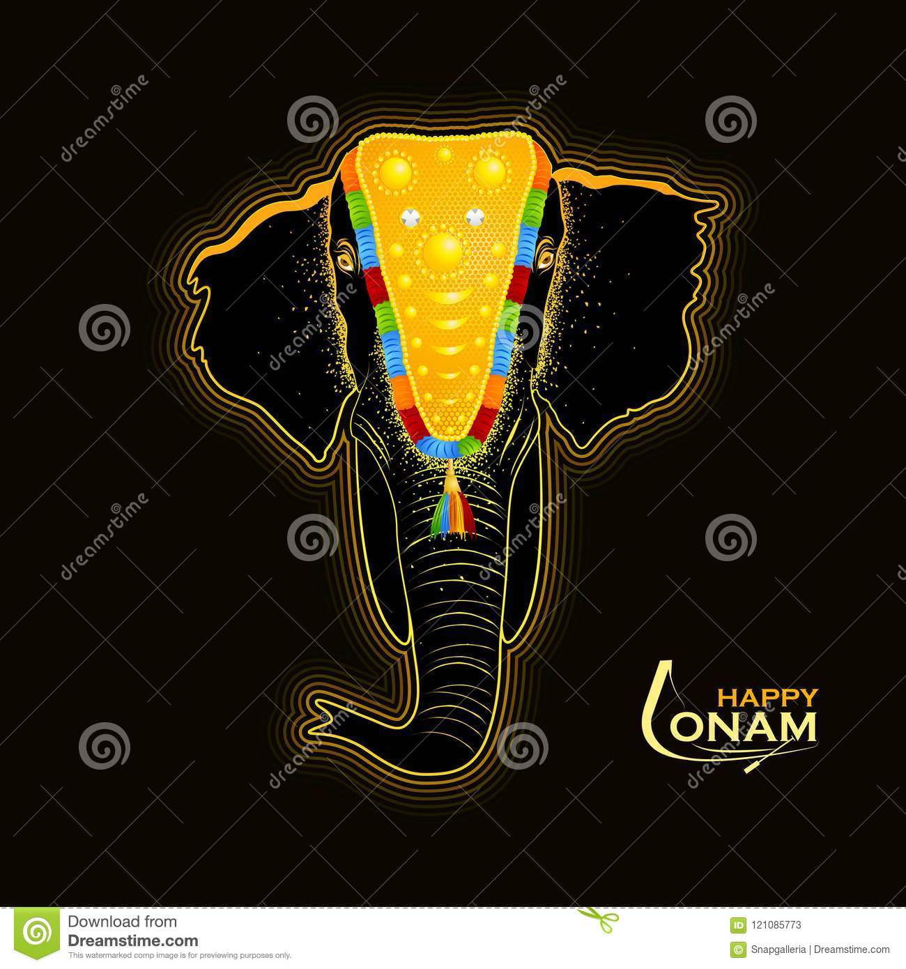 Decorated Elephant For Happy Onam Stock Vector Illustration Of