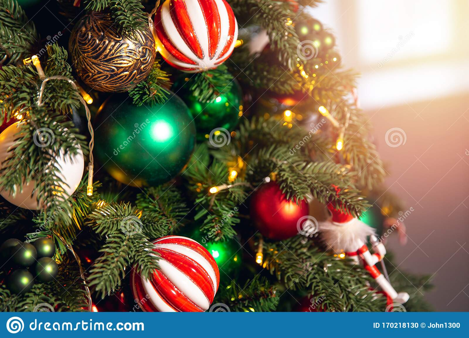 Decorated European American Christmas Tree Red And Green Color Close Up Of Toys And Decor Striped Candy Stock Photo Image Of Decorate Holiday 170218130