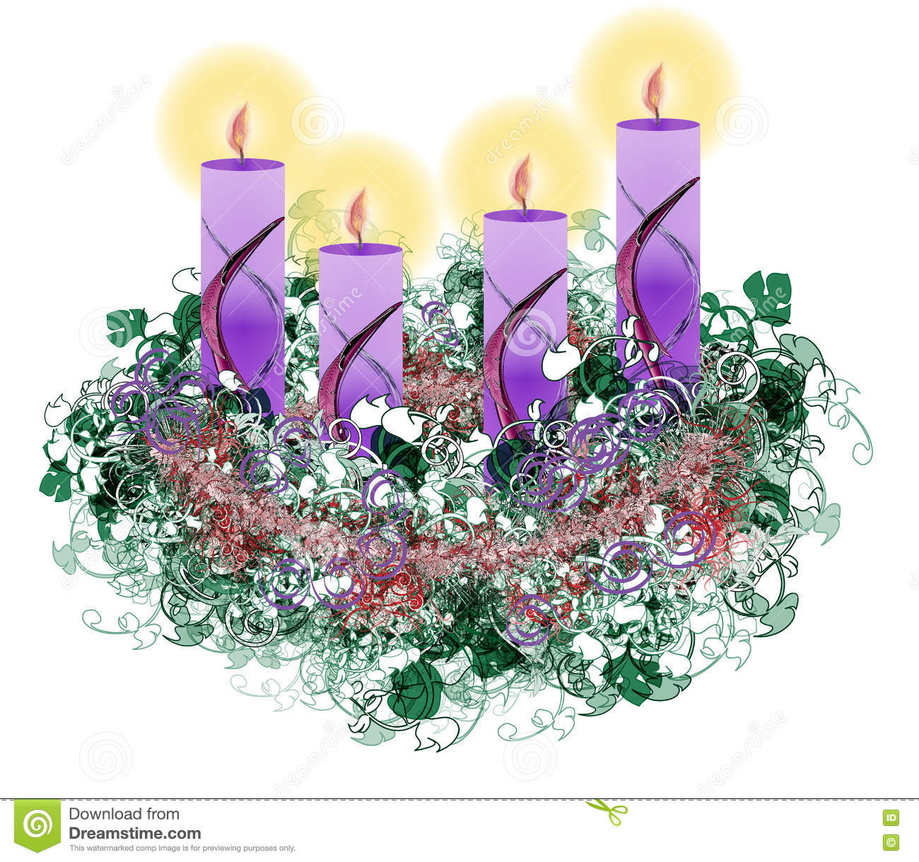 decorated floral advent wreath with four advent candles. Black Bedroom Furniture Sets. Home Design Ideas