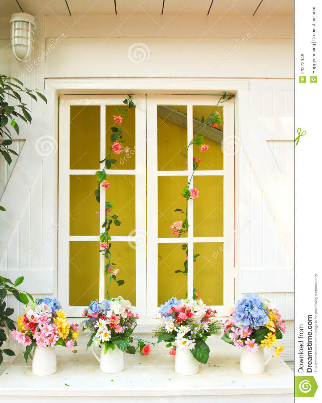 Decorated Flower On Window In Garden Stock Image