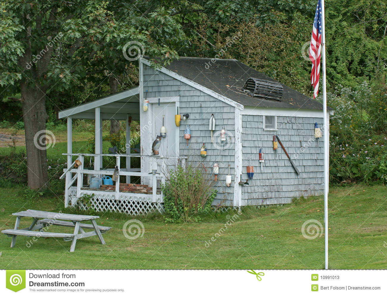 Decorated garden shed stock image image of flag trees 10991013 - Plans for garden sheds decor ...