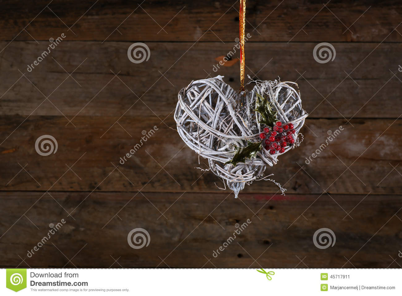 Decorated Heart Shape Christmas Wreath White Twigs Ribbon