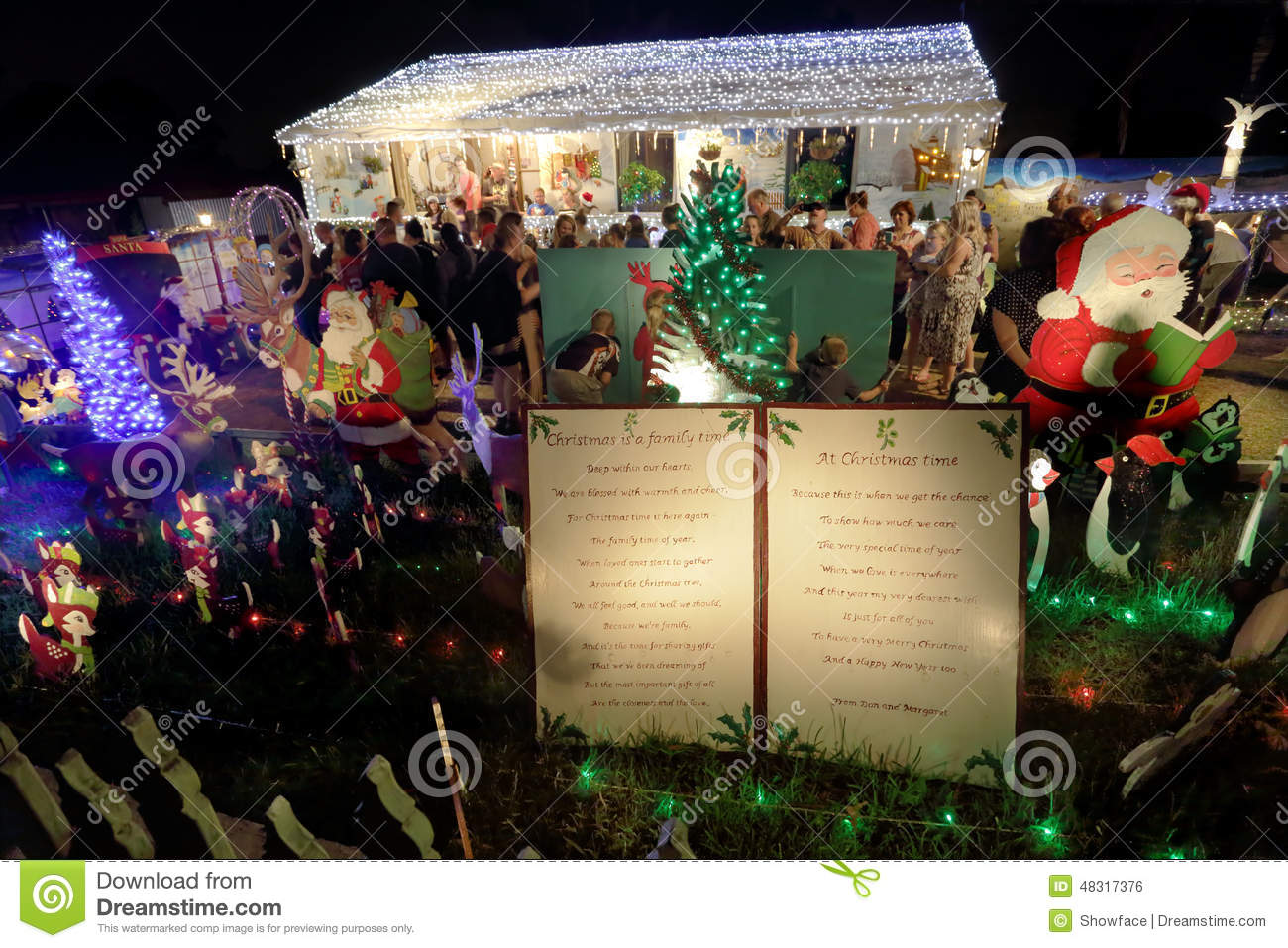 Decorated House Christmas Led Lights Display With Santa Editorial