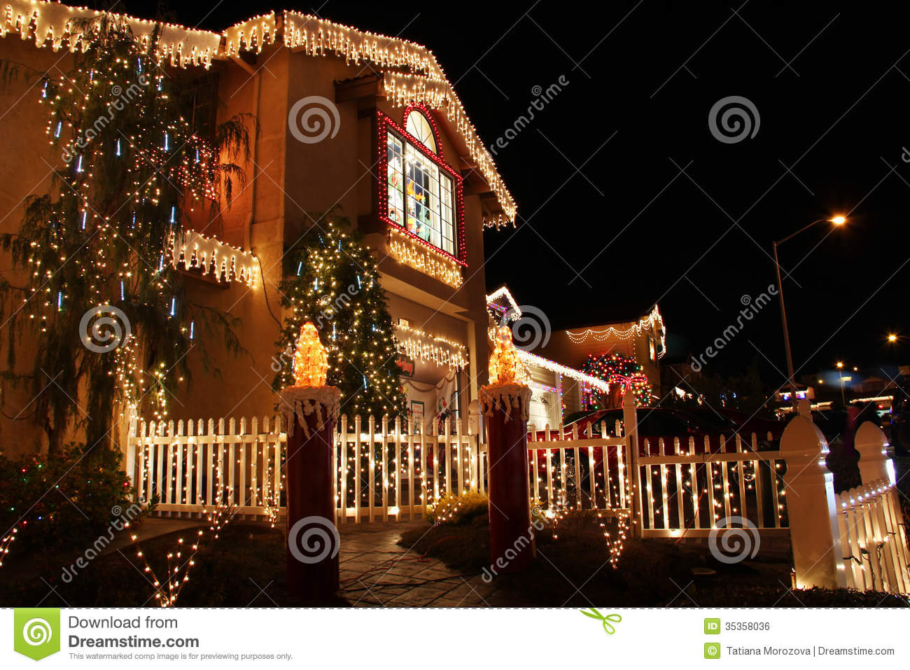 Living Room Decorated House decorated house with christmas lights royalty free stock image lights
