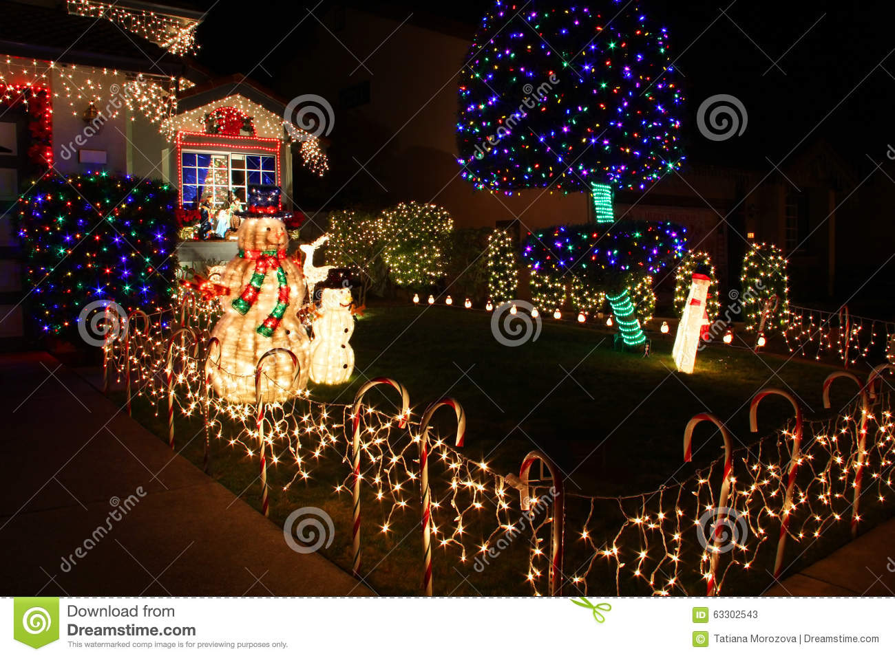 Christmas Decorated House San Francisco : Decorated house with christmas lights stock photo image