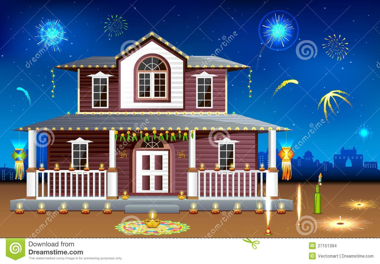 Living Room Decorated House decorated house in diwali night stock images image 27151394 night