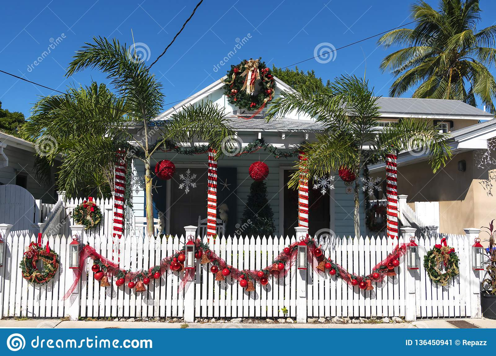 Key West Christmas 2019.Decorated House In Key West Editorial Photo Image Of